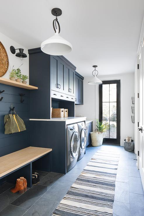 Blue Laundry Room And Mudroom Cabinets Transitional