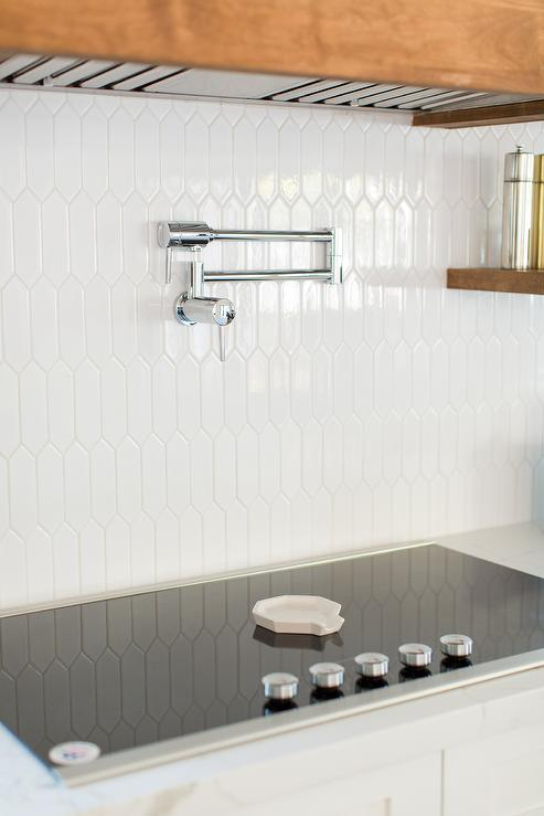 White Picket Style Kitchen Backsplash Tiles Design Ideas