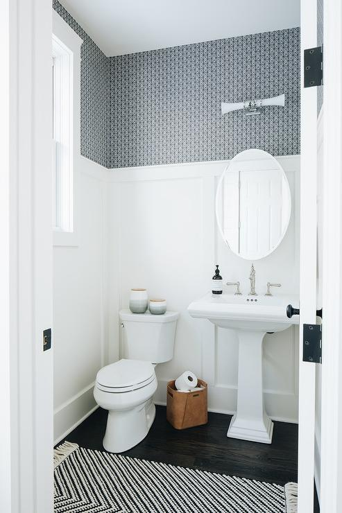 White And Blue Powder Room With White Beadboard Wall Trim