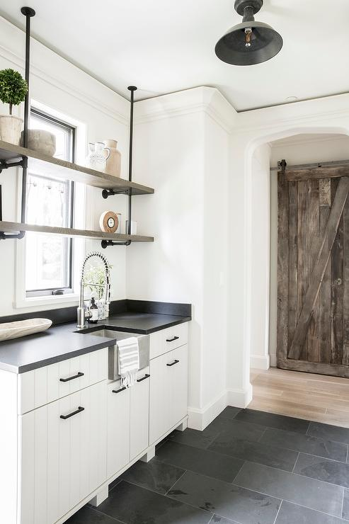 White Plank Pantry Cabinets on Slate Floor - Transitional ...