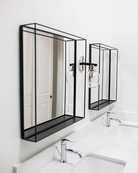 Black Metal Box Frame Vanity Mirrors Transitional Bathroom