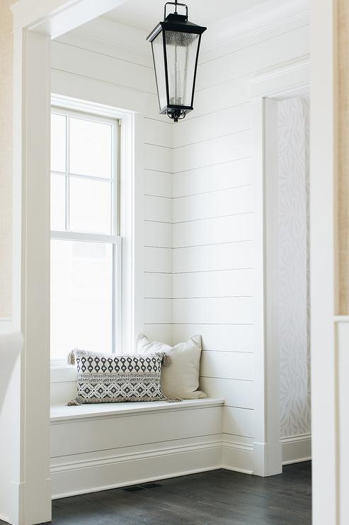 Shiplap Trim On Built In Window Seat Transitional