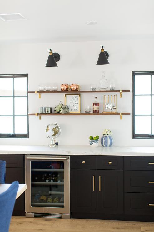 Wood Bar Shelving With Brass Brackets Transitional Kitchen