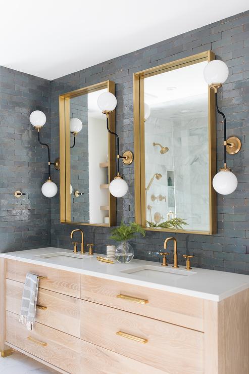 Brass Box Frame Mirrors On Black Glazed Tiles Contemporary Bathroom
