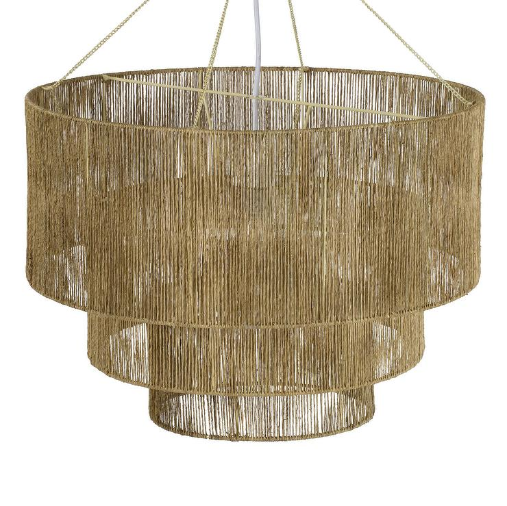 on sale 70d3b 31aea Chavette Round Natural Rattan Tiered Chandelier