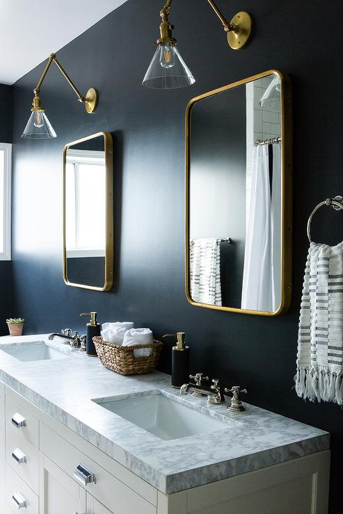 Brass Vanity Mirrors On Black Wall Transitional Bathroom