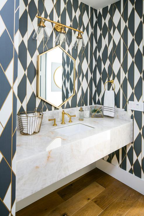 White Black Gold Geometric Wallpaper In Powder Room