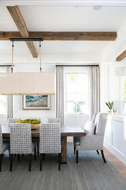 Linen Rectangular Chandelier Over Wooden Dining Table Transitional Dining Room
