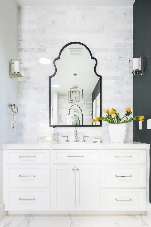 Black Arch Mirror With White Bath Vanity Transitional Bathroom