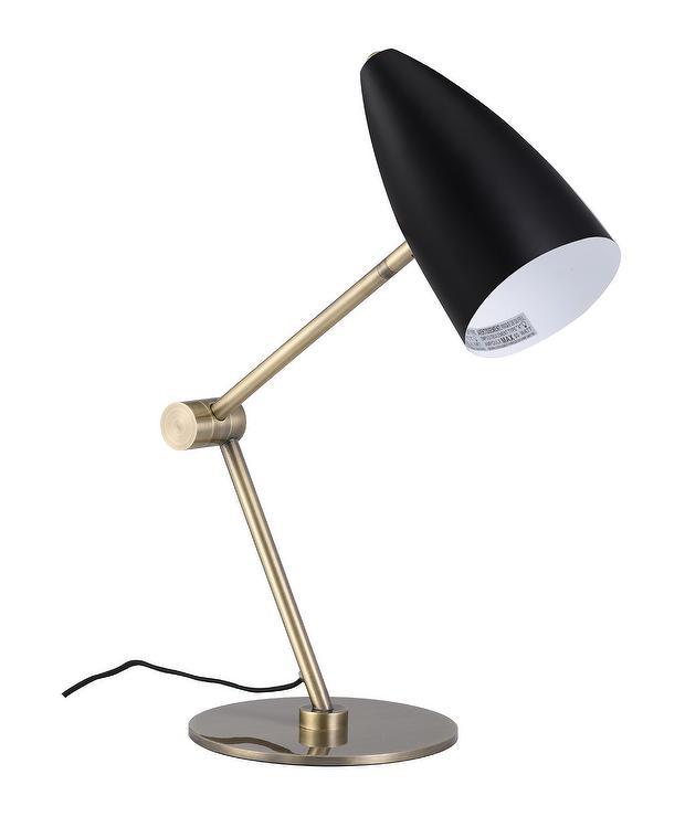 Cooper Black Shade Brass Task Table Lamp