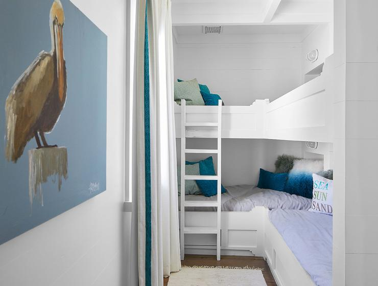 L Shaped Built In Bunk Beds With Curtains Cottage Boy S Room