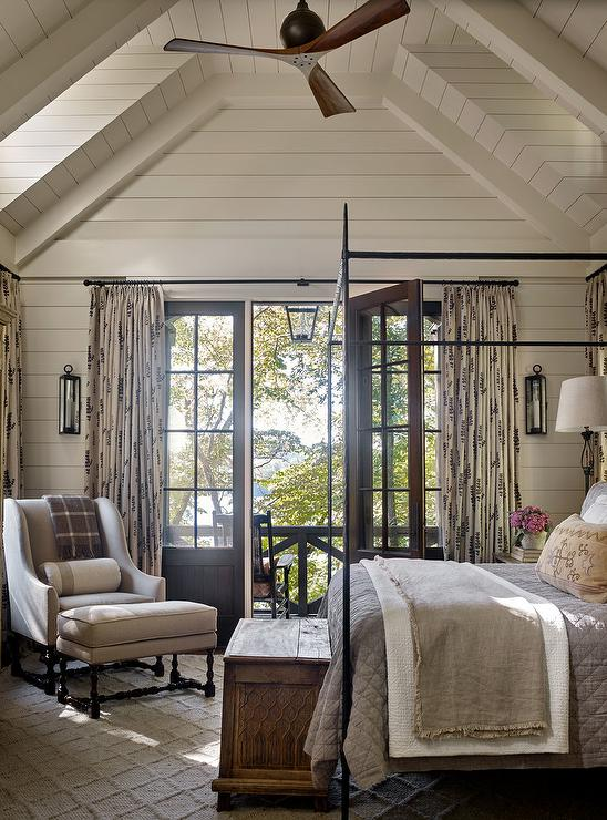 Country Style Bedroom with Shiplap Vaulted Ceiling - Country ...
