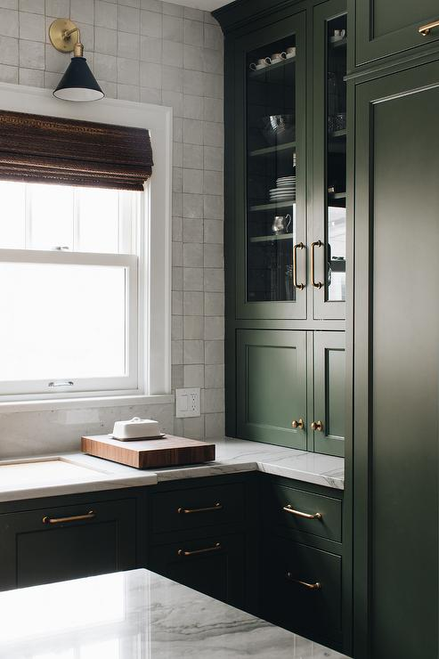 Green Shaker Kitchen Cabinets With Oval Brass Knobs Transitional