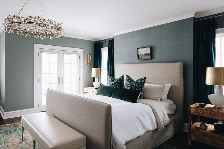 Peacock Blue Grasscloth Wallpaper With Light Gray Bed