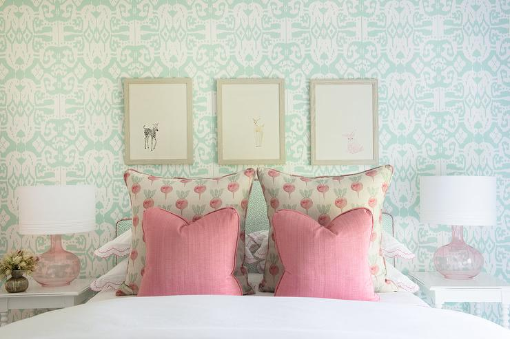 Mint Green Headboard with Pink Glass Lamps - Transitional ...