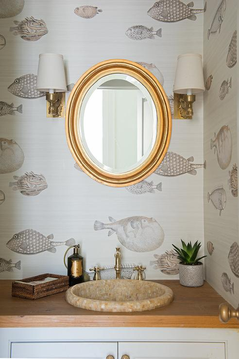 Oval Gold Mirror With Wood Top Vanity Transitional Bathroom