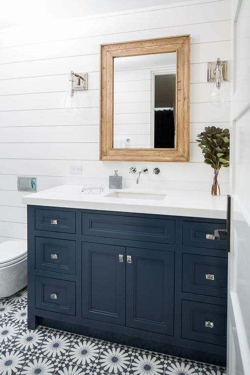 Navy Blue Bath Walls With White Shiplap Trim Cottage