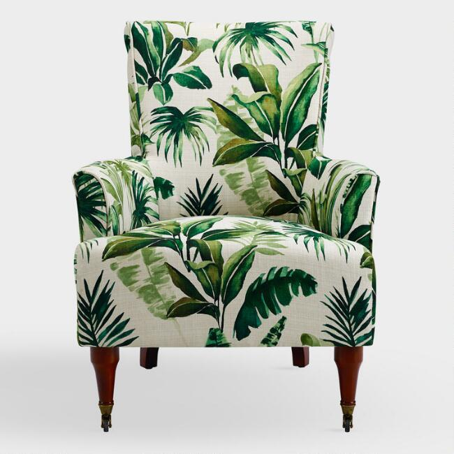 Admirable Clares Green Palm Leaves Upholstered Armchair Machost Co Dining Chair Design Ideas Machostcouk