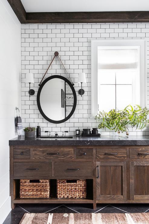Rope Hanging Oval Mirror Over Brown Oak, Rope Hanging Vanity Mirror
