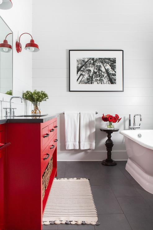 Barn Red Bath Vanity with Matte Black Floors - Country ... Interior Design Red Bathroom Barn on red wallpaper bathrooms, red tile bathrooms, white design bathrooms,