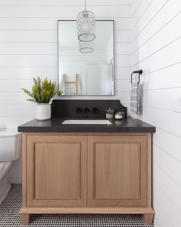 Golden Oak Bath Vanity On Shiplap Wall Transitional Bathroom