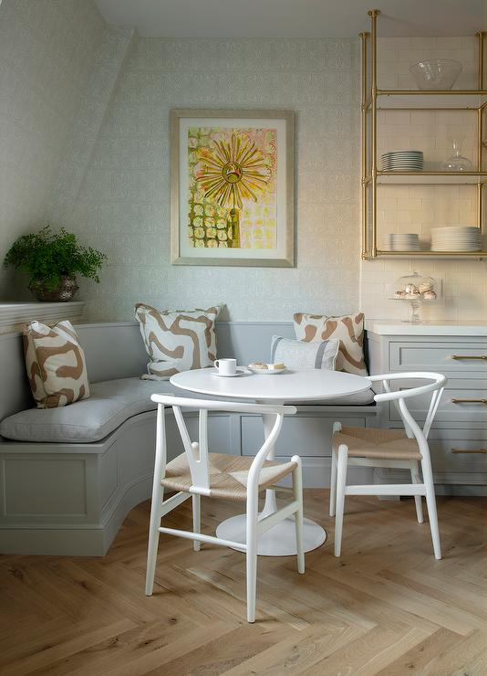 Outstanding Gray Curved Dining Banquette With White Tulip Dining Table Ncnpc Chair Design For Home Ncnpcorg