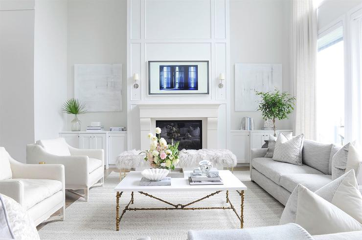 White And Gold Cocktail Table With White Accent Chairs Transitional Living Room