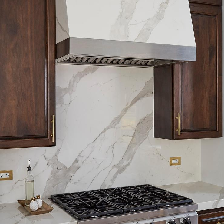 Brown Oak Cabinets With Marble Range Hood Transitional Kitchen,Ikea White Twin Bed With Drawers