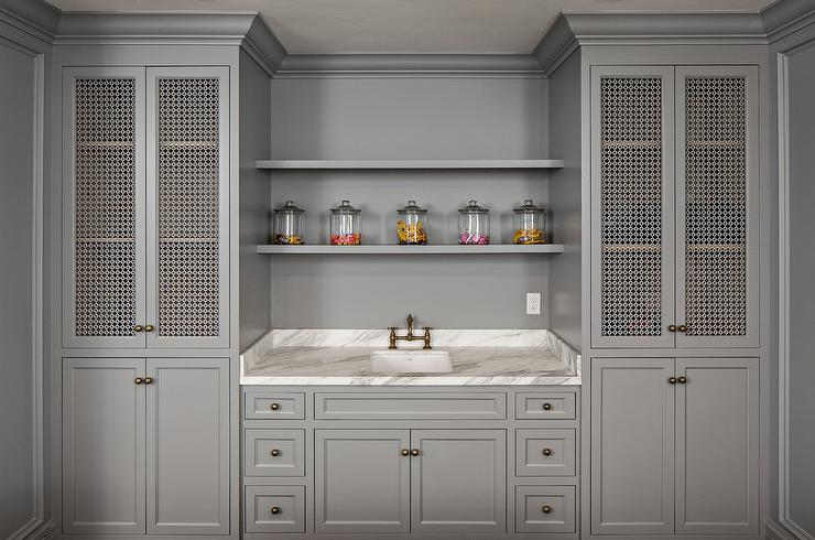 Gray Pantry Cabinets With Metal Doors Transitional Kitchen