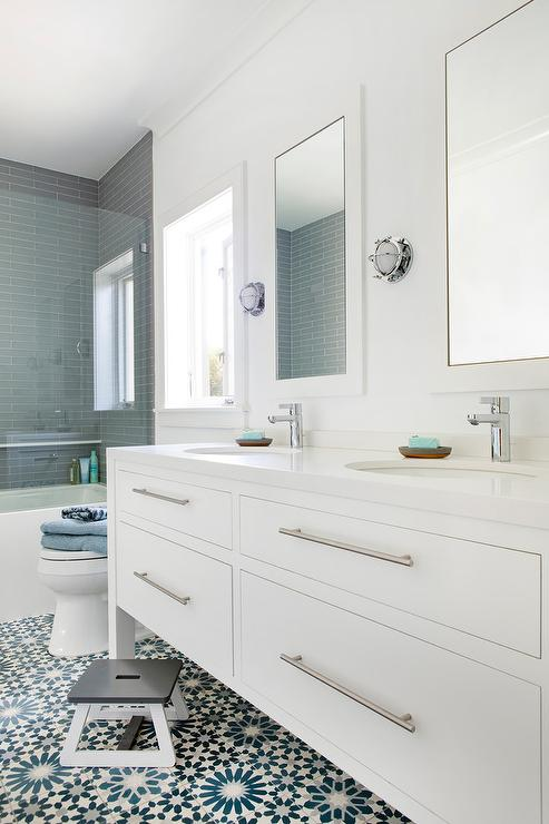 White And Blue Mosaic Bath Floor Tiles Transitional Bathroom