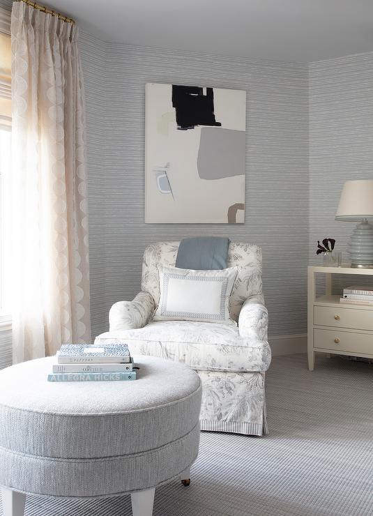 Gray Bedroom with White and Gray Roll Arm Accent Chair ...