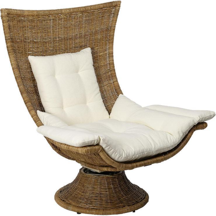 Tremendous Akila Curved Woven Rattan Cushion Swivel Chair Machost Co Dining Chair Design Ideas Machostcouk