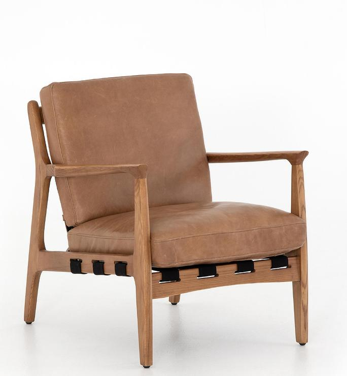 Patrizia Brown Leather Wood Frame Chair