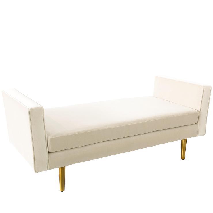 Magnificent Raydon Dove White Velvet Brass Legs Daybed Cjindustries Chair Design For Home Cjindustriesco