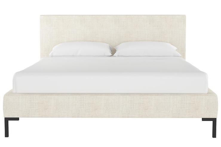 dca1ca883a06f6 Deva Talc White Linen Black Legs Platform Bed