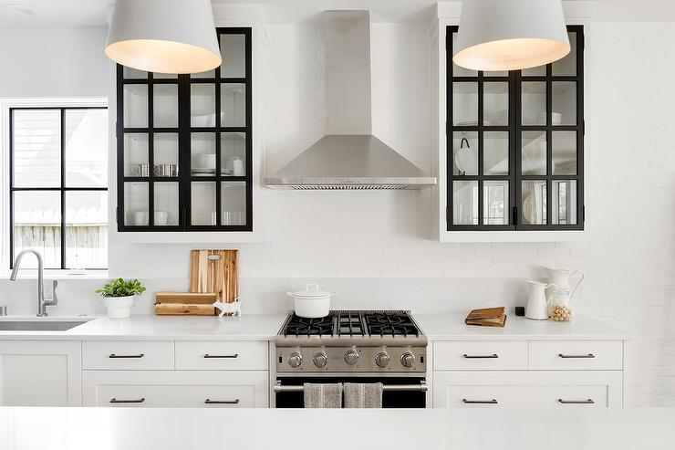 White Cabinets With Black Frame Glass Doors Transitional Kitchen