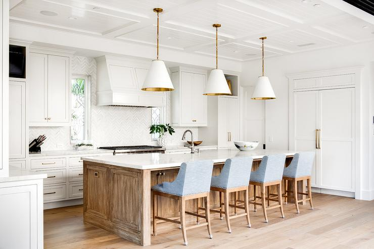 White Cabinets With Powder Blue Kitchen Island And Sawn