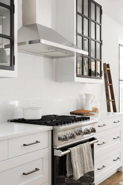 Black and White Glass Front Kitchen Cabinets - Transitional ...