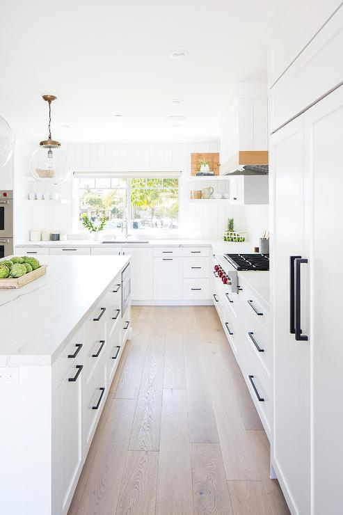 White Cabinets With Orb Pulls Cottage Kitchen