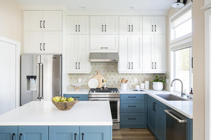 White and Blue Kitchen Cabinets with Oil Rubbed Bronze ...