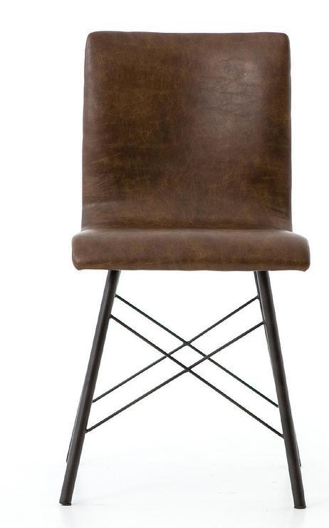 Regina Distressed Brown Leather Metal Dining Chair