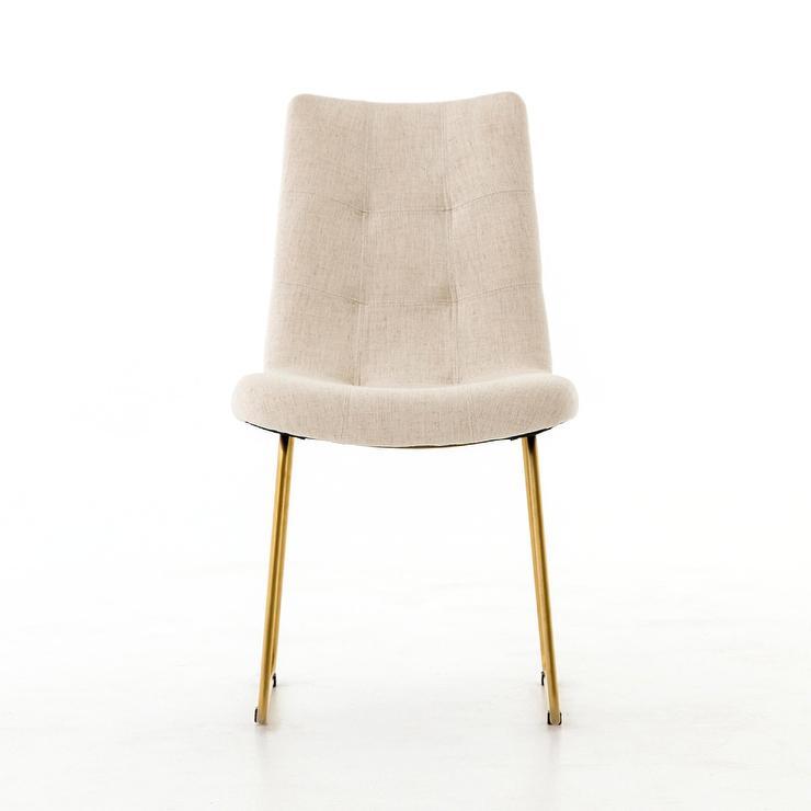 Miraculous Carmela Natural Linen Tufted Brass Dining Chair Machost Co Dining Chair Design Ideas Machostcouk