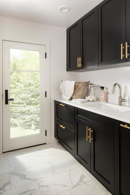 Black Laundry Room Cabinets With Maple Butcher Block