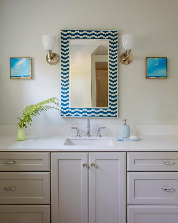 Brushed Nickel Bathroom Faucet >> Blue Chevron Mirror with Light Gray Washstand - Transitional - Bathroom