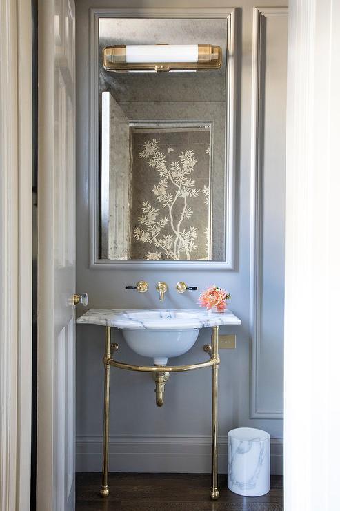 Marble And Brass Sink Vanity On Gray Wall French Bathroom