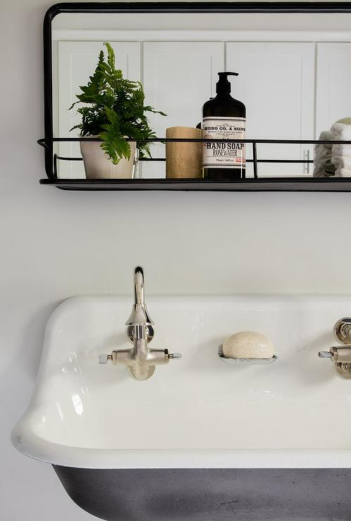 Vintage Mirror With Shelf Over Trough Sink Vintage