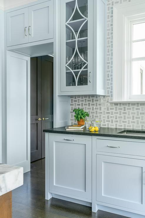 Light Blue Kitchen Cabinets With Black Granite Countertops