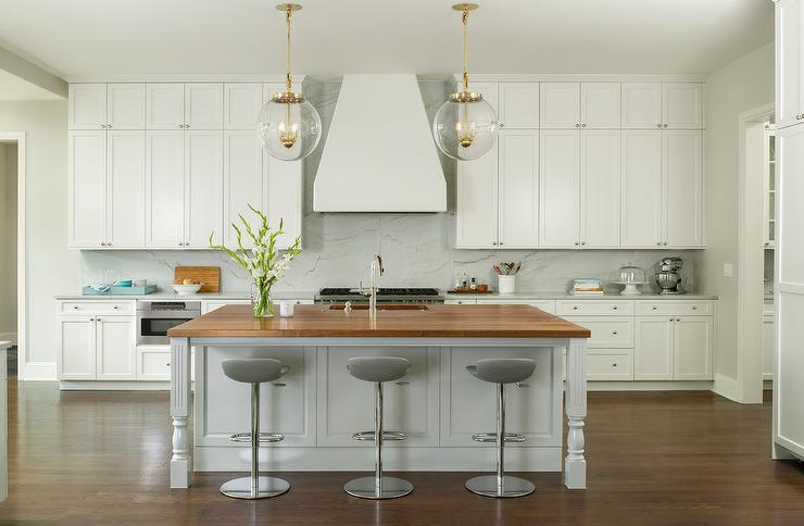 Light Gray Kitchen Island With Butcher Block Top Transitional Kitchen