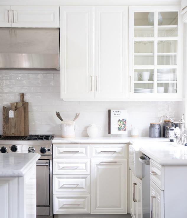 White Glazed Tiles in White Kitchen - Transitional - Kitchen