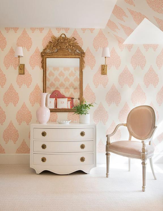 Feminine White And Pink Master Bedroom Transitional Bedroom